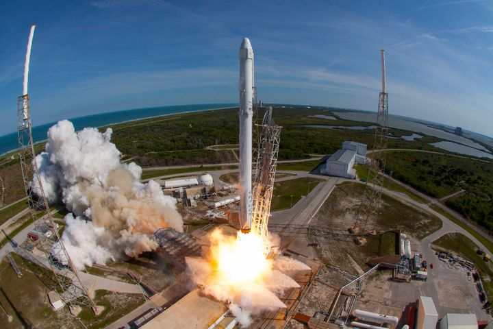 SpaceX's Falcon 9 rocket and Dragon spacecraft lift off from the Cape Canaveral Air Force Station back in April.