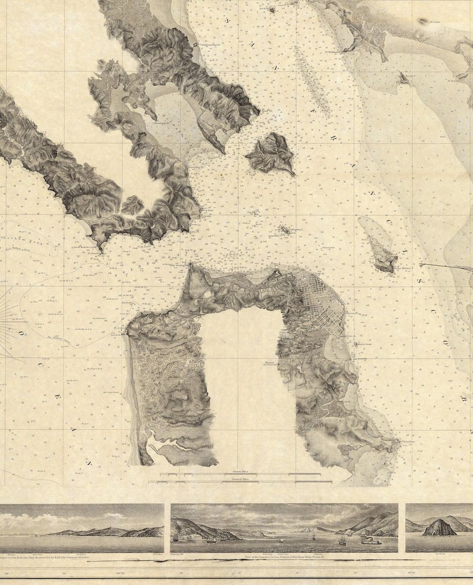 "37.7166° N, 122.2830° W, Alexander Dallas Bache, ""Entrance to San Francisco Bay California,"" 1859. This map uses the"