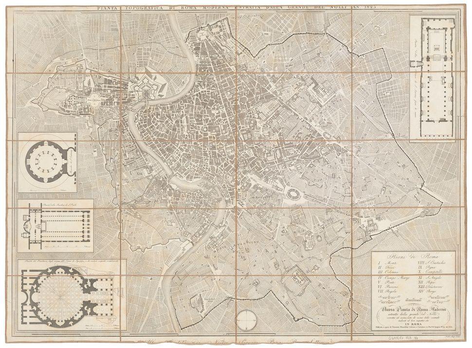 """41.9000° N, 12.5000° E, Giambattista Nolli, """"Nuova pianta di Roma moderna,"""" 1823. """"Truly a hybrid of map and plan, th"""