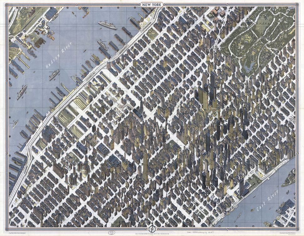 "40.7145° N, 74.0071° W, Herman Bollmann, ""New York,"" 1962. To create this New York City map, reproduced in"