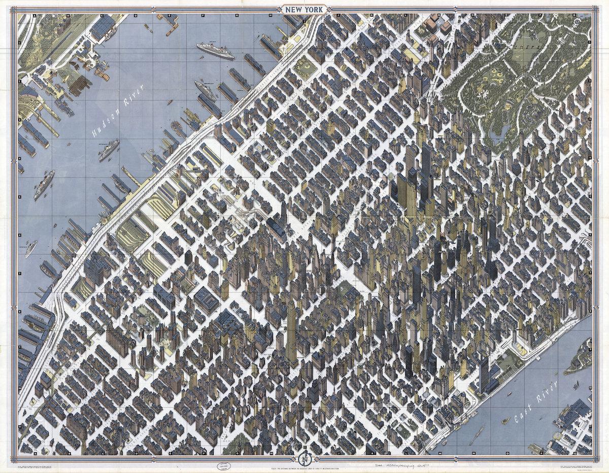 "40.7145° N, 74.0071° W, Herman Bollmann, ""New York,"" 1962."