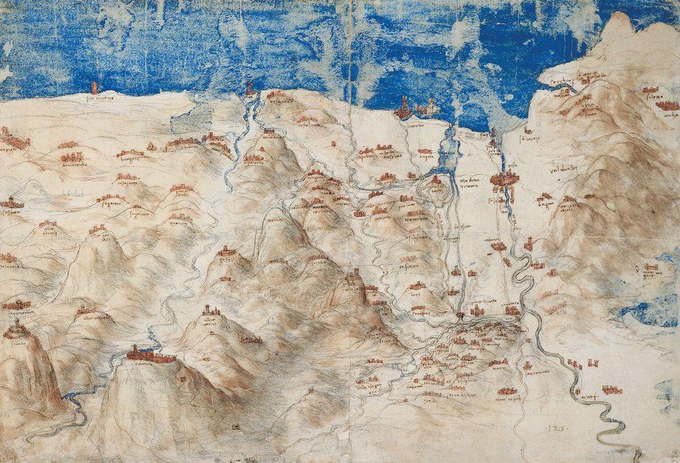 """43.4100° N, 11.0000° E, Leonardo da Vinci, """"A Bird's-Eye Map of Western Tuscany,"""" 1503-1504."""