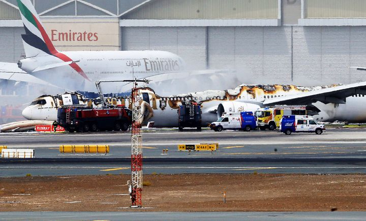 Aftermath of the fire on-board Emirates 521