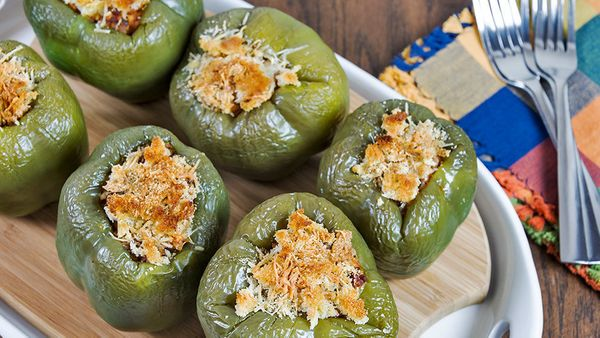 Stuffed peppers may not be the trendiest dish on today's tables, but there's still something novel about getting a beautiful