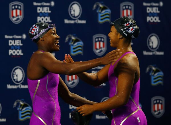 Lia Neal, 21, and Simone Manuel, 19, are Stanford students making history in the swimming category at the Olympics. It's the
