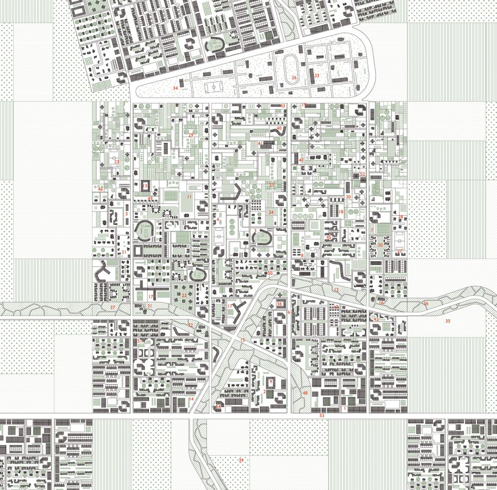 "Stan Allen, ""The New American City,"" 2013. According to <i>Cartographic Grounds</i>, ""The New American City is a proposal for"