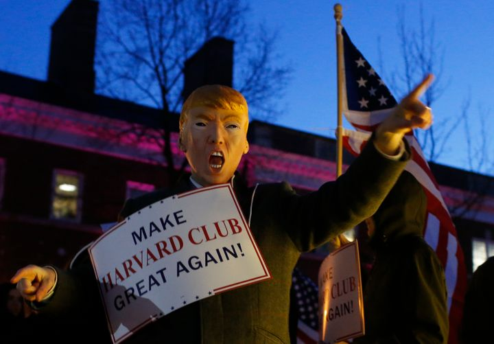 The Harvard Republicans have officially denounced Donald Trump. Shown here is a scene from a Trump-themed protest on Harvard'