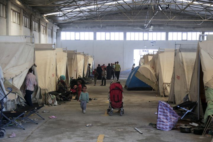 The Vasilika refugee camp is a military-run refugee camp located in an old warehouse in Vasilika village, Greece on 11 July 2