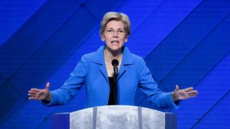 UNITED STATES - JULY 28: Sen. Elizabeth Warren (D-MA) speaks on stage during the U.S. Senate Women presentation at the Democratic National Convention in Philadelphia on Thursday, July 28, 2016. (Photo By Bill Clark/CQ Roll Call)