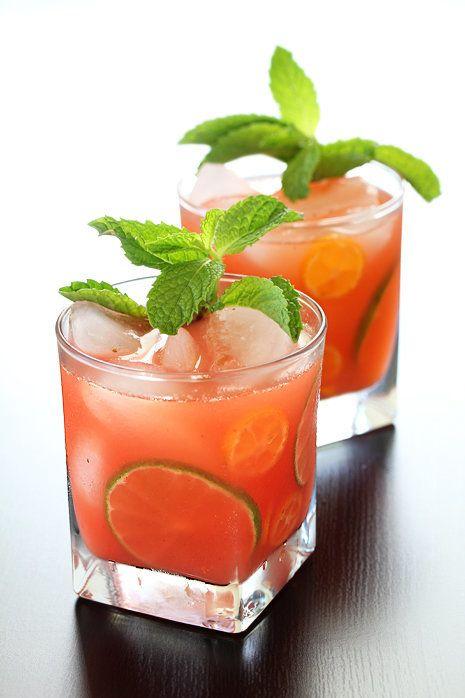 "<strong>Get the <a href=""http://www.bakersroyale.com/cocktail-desserts/strawberry-and-kumquat-caipirinha/"" target=""_blank"">St"