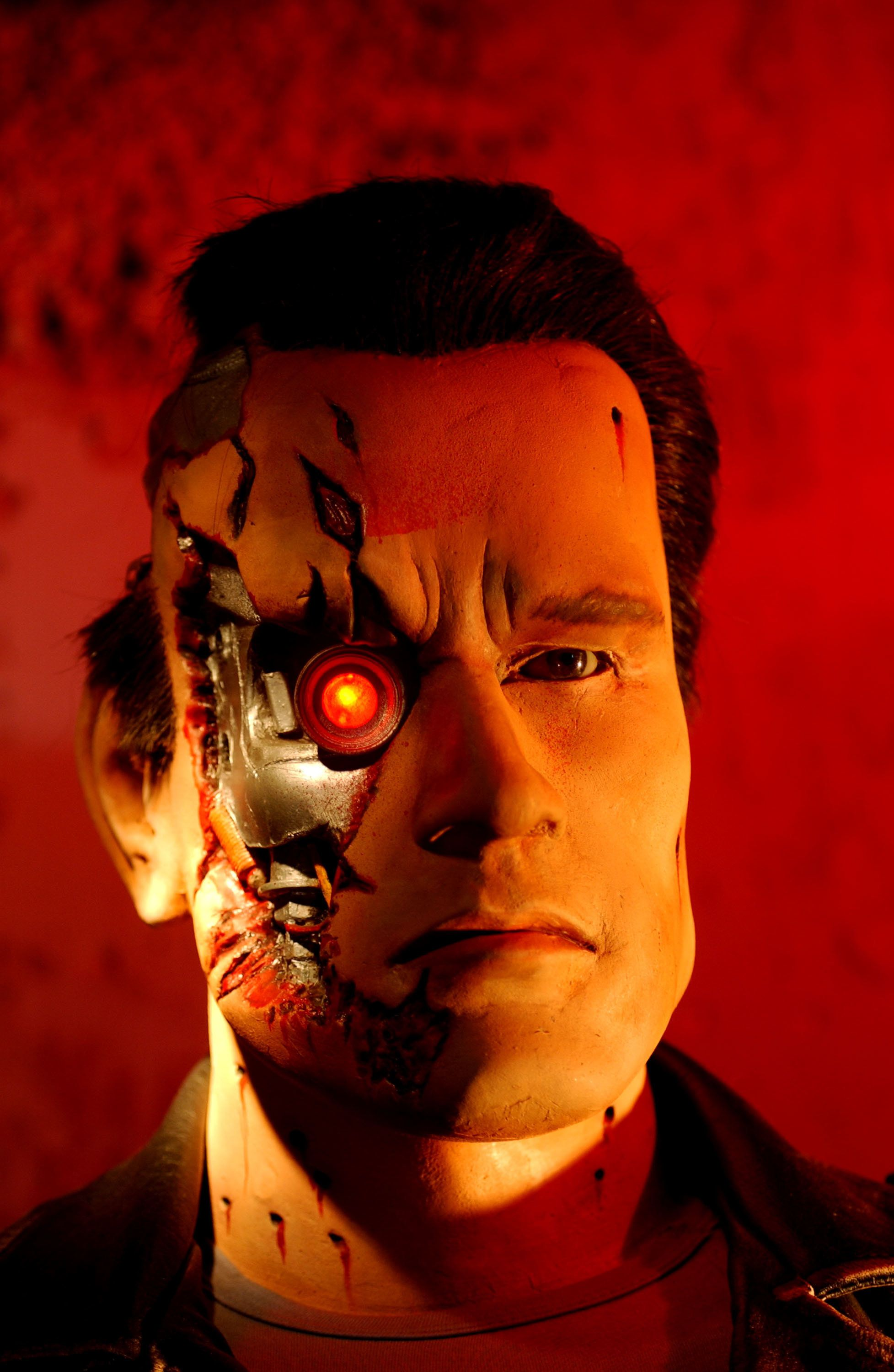 393812 04: A wax replica of actor Arnold Schwarzenegger in the film 'Terminator 2: Judgement Day is on display at the Hollywood Wax Museum August 28, 2001 in Hollywood, CA. The museum, started in 1965 to showcase Hollywood stars, has more than 180 wax figures. (Photo by David McNew/Getty Images)