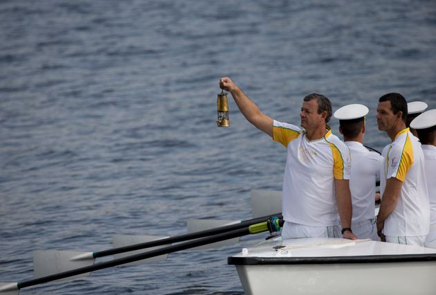 The Olympic flame arrives in
