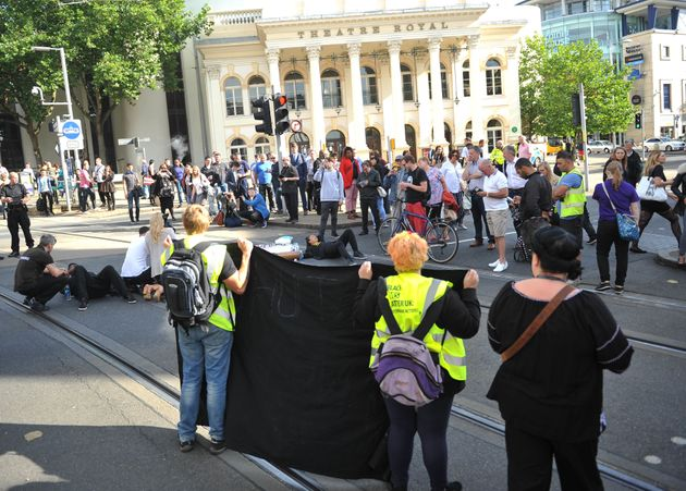 Activists outside Nottingham Theatre