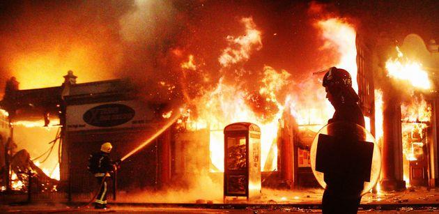 Buildings were set alight in Tottenham after Duggan