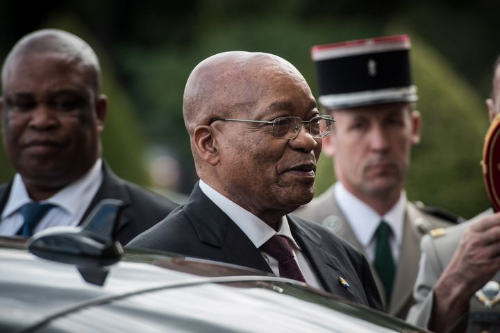South African President Jacob Zuma arrives to attend a ceremony at the National Invalides hotel in Paris, France, July 11, 20