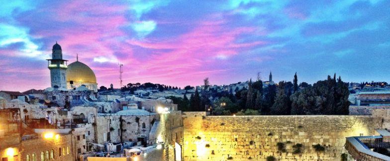 Jerusalem's Old City at dusk