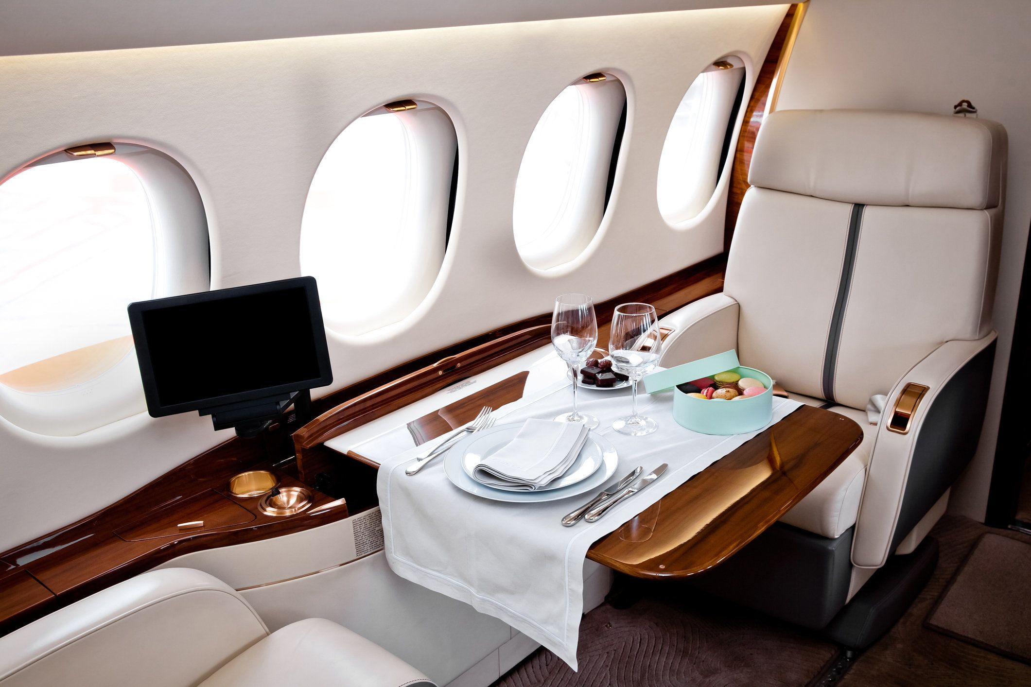 Business Jet airplane interior. First class flight