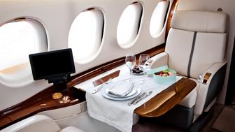 Business Jet airplane interior. First class flight