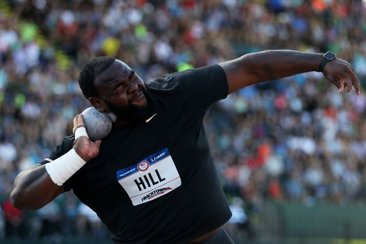 Darrell Hill participates in the Men's Shot Put Final during the 2016 U.S. Olympic Track & Field Team Trials.