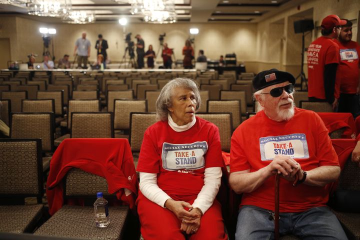 AARP activists attend a campaign event for then-presidential candidate Ohio Gov. John Kasich (R) in March. AARPis tryin