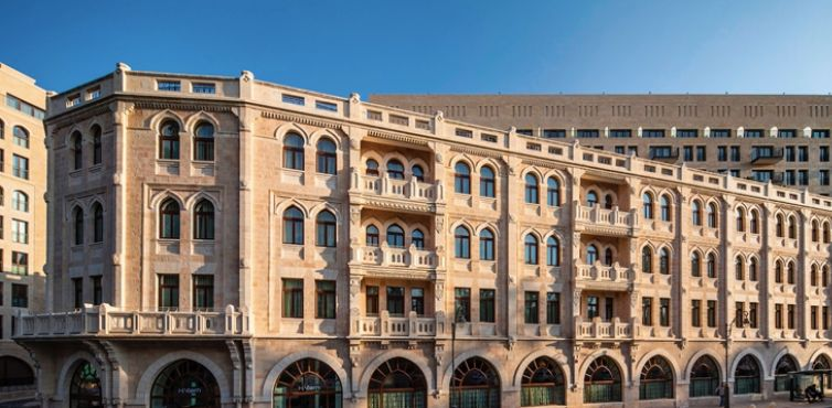 The facade of the old Palace Hotel, now part of the Waldorf Astoria Jerusalem