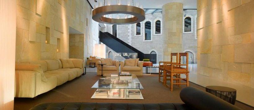 The lobby of the Mamilla Hotel in Jerusalem