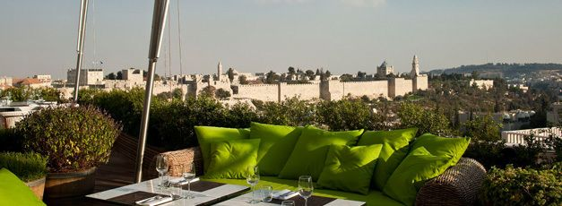 The wall of Jerusalem's Old City, as seen from the rooftop of the Mamilla Hotel