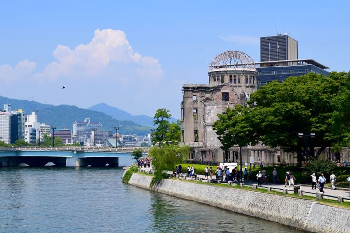 The A-bomb dome viewed from the Hiroshima Peace Memorial Park.
