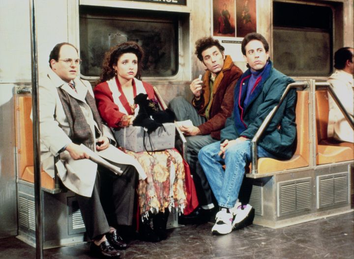 Jason Alexander as George Costanza, Julia Louis-Dreyfus as Elaine Benes, Michael Richards as Cosmo Kramer, Jerry Seinfeld as