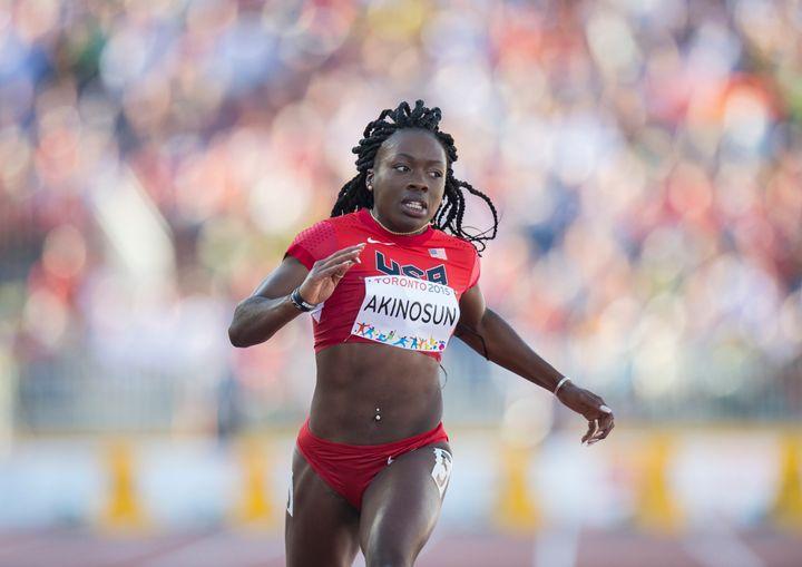 Morolake Akinosun competes in 100 meter semifinalsat the 2015 PanAm Games in Toronto.