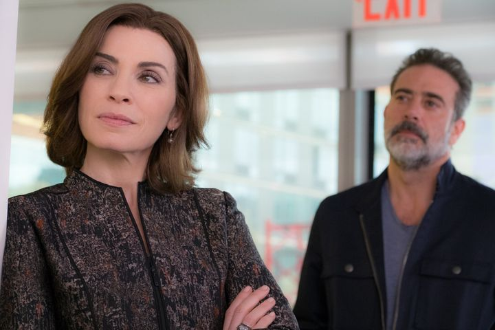 Julianna Margulies as Alicia Florrick and Jeffrey Dean Morgan as Jason Crous.