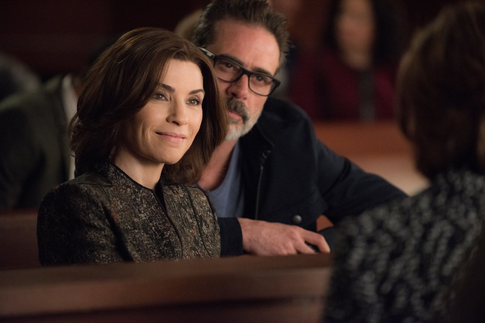NEW YORK - APRIL 12: 'End' -- THE GOOD WIFE reaches its dramatic conclusion on the series finale, Sunday, May 8 (9:00-10:00 PM, ET/PT) on the CBS Television Network. Pictured (L-R)  Julianna Margulies  as Alicia Florrick and  Jeffrey Dean Morgan  as Jason Crouse (Photo By Jeff Neumann/CBS via Getty Images)