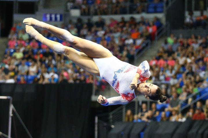 Aly Raisman competes in the floor exercise during day two of the 2016 P&G Gymnastics Championships at Chafitz Arena on Ju