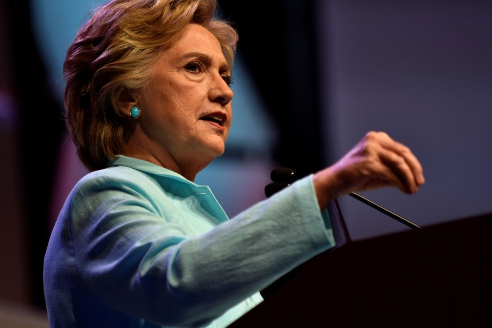 U.S. Democratic presidential candidate Hillary Clinton addresses a joint gathering of the National Association of Black Journ