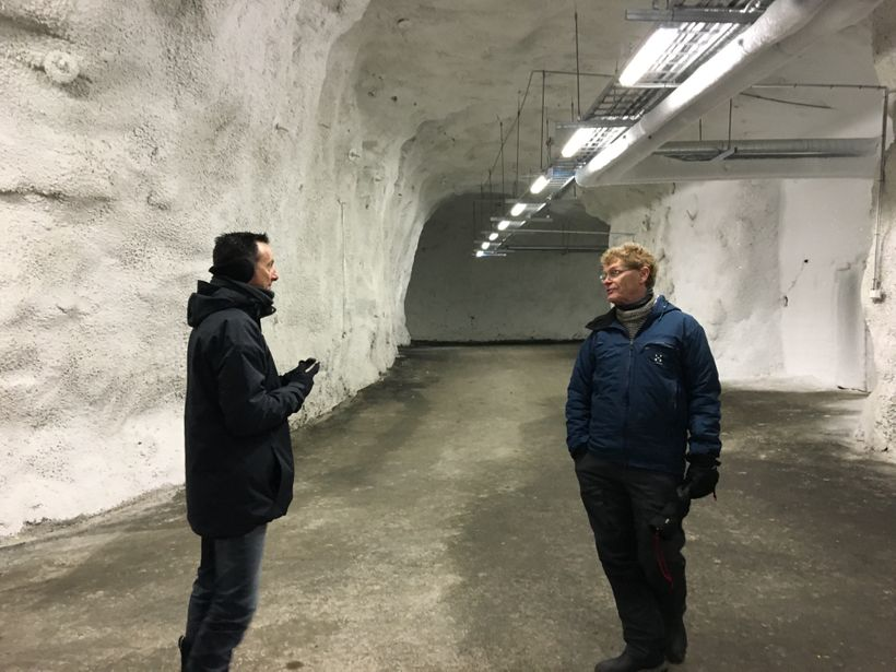 Speaking with Dr. Cary Fowler in the seed vault.