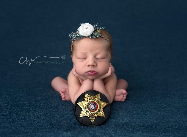 """Deputy Constable Mark Diebold aided the Halls during the""""wild ride"""" of Evelyn's birth."""