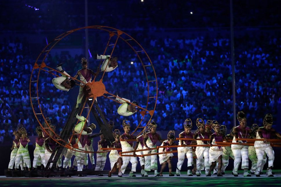 Dancers perform during the Geometrization segment of the Opening Ceremony.