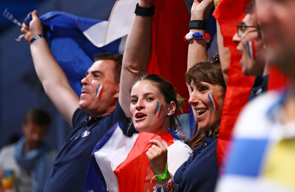 French fans before the opening ceremony.