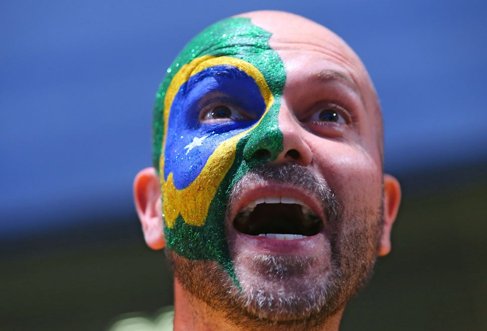Brazilian fan right before the opening ceremony.