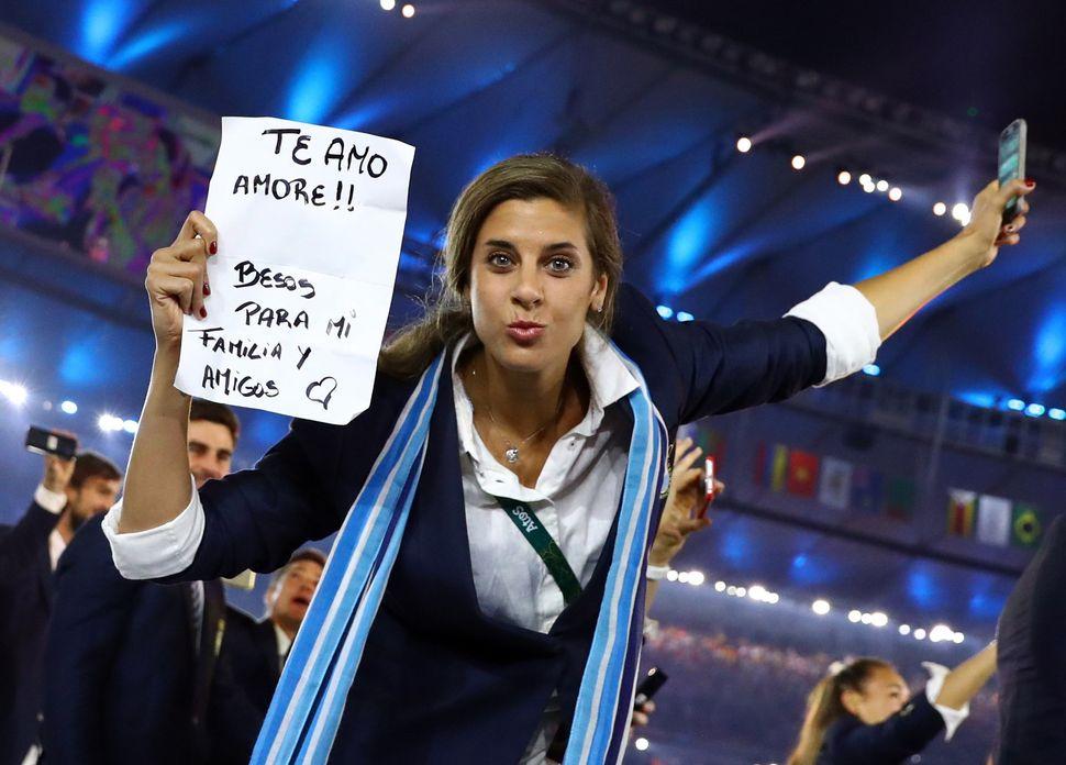 Opening Ceremony - Maracana - Rio de Janeiro, Brazil - 05/08/2016. Argentina's athletes during the opening ceremony.