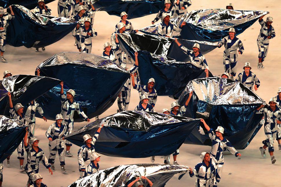 Artists preform during The 2016 Summer Olympics Opening Ceremony at Maracana Stadium on August 5, 2016 in Rio de Janeiro, Bra