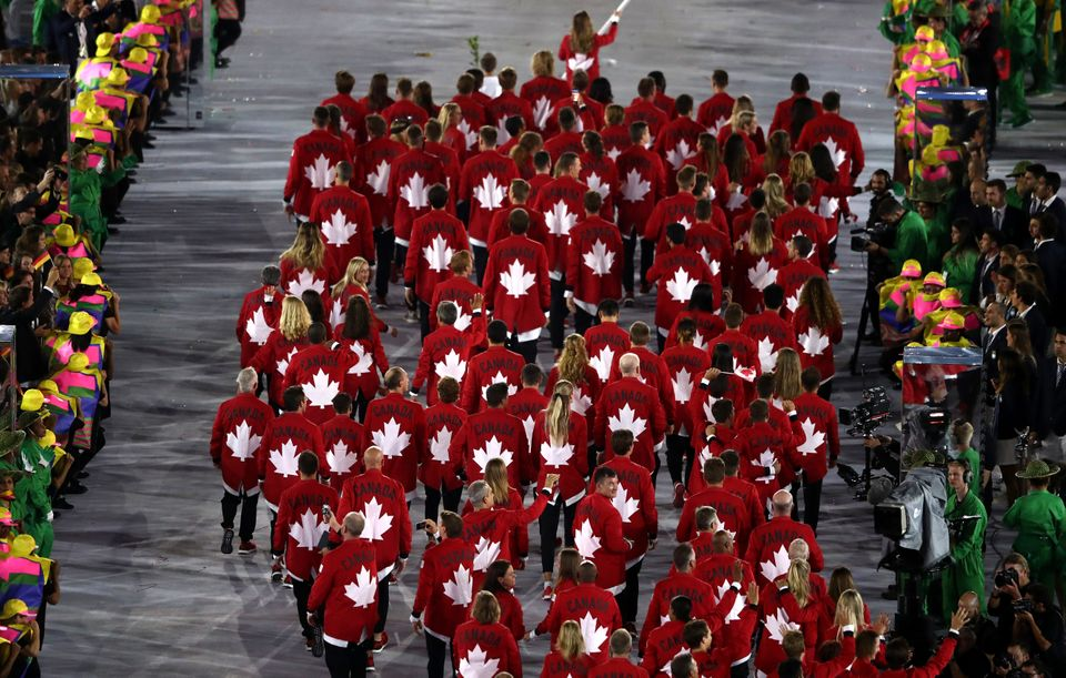 \Members of the Canada team take part in the Opening Ceremony of the Rio 2016 Olympic Games.