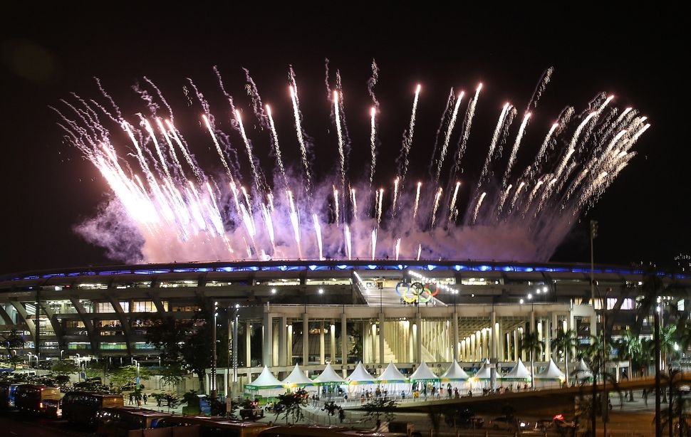 Fireworks go off over the Maracana Stadium during the opening ceremony of the Rio 2016 Summer Olympic Games.