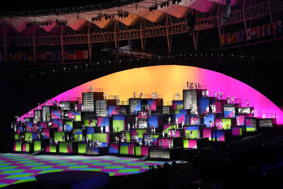 Dancers perform the Pop: Favela Voices segment during the Opening Ceremony of the Rio 2016 Olympic Games at Maracana Stadium