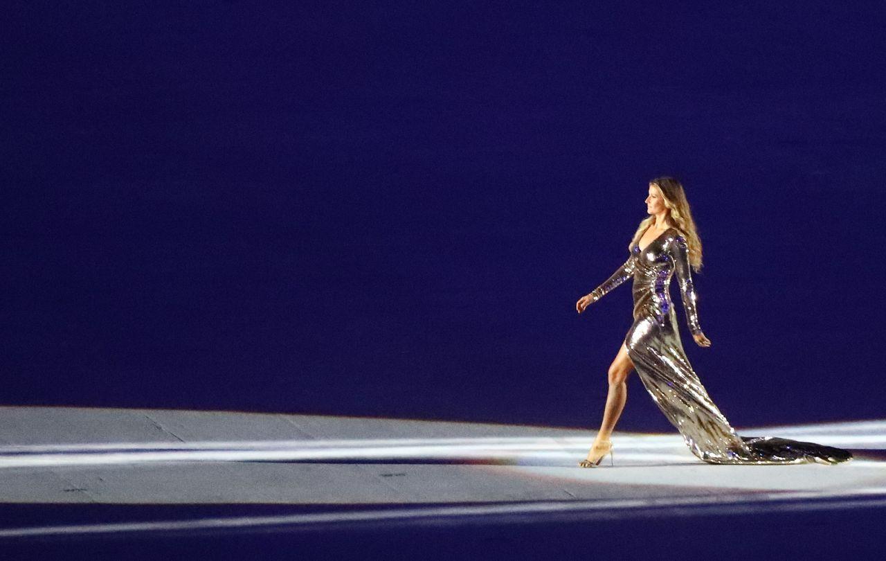 Brazilian model Gisele Bundchen takes part in the opening ceremony.