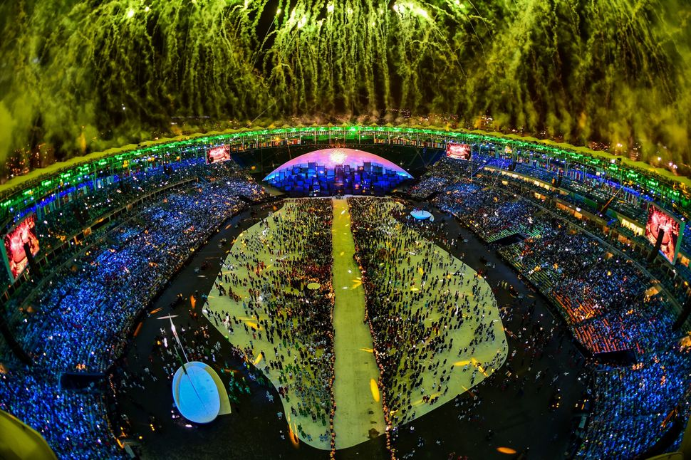 Fireworks over the Maracana stadium at the end of the opening ceremony of the Rio 2016 Olympic Games on August 5, 2016.