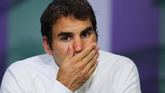 Roger Federer during a press conference following defeat on day eleven of the Wimbledon Championships at the All England Lawn Tennis and Croquet Club, Wimbledon.