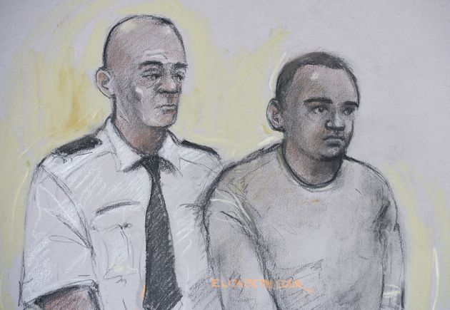 Court artist sketch of Zakaria Bulhan (right) appearing at Westminster Magistrates Court on