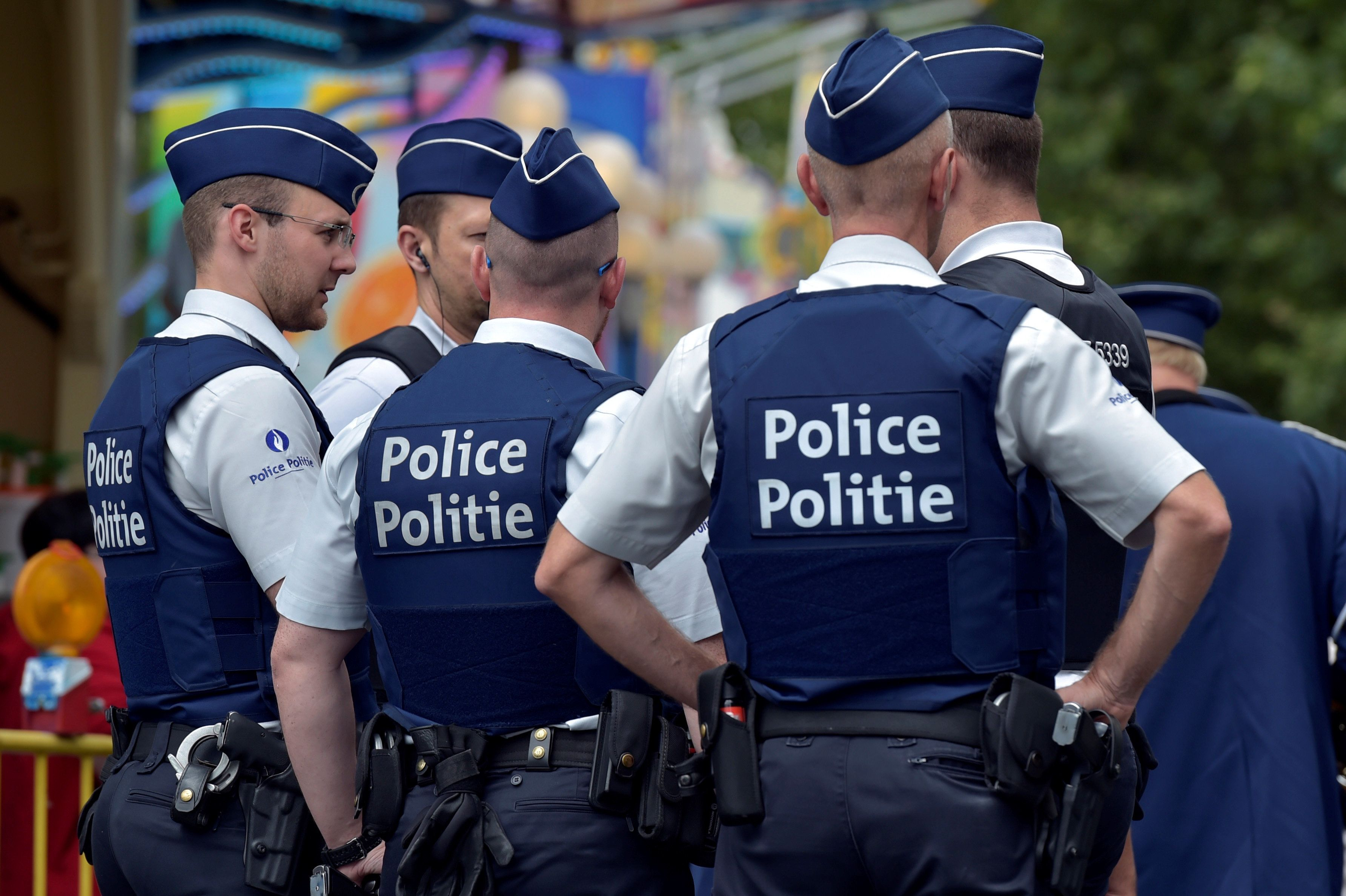 A man armed with a machete attacked two police officers in Belgium before being shot (stock