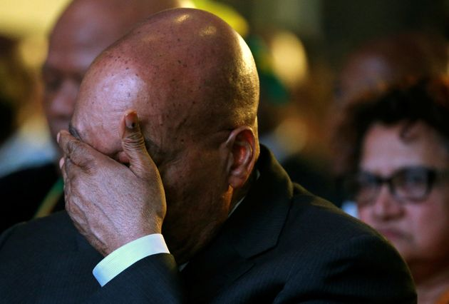 South Africa's President Jacob Zuma reacts during the official announcement of the municipal election...